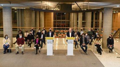 Horacio Rodríguez Larreta durante la conferencia de prensa en la que contó que el gobierno porteño acudiría a la corte para impedir que le saquen un punto de coparticipación (Prensa GCBA)