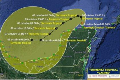 Trayectoria de Gamma entre el domingo 4 y el viernes 9 de octubre (Foto: SMN/Conagua Clima)