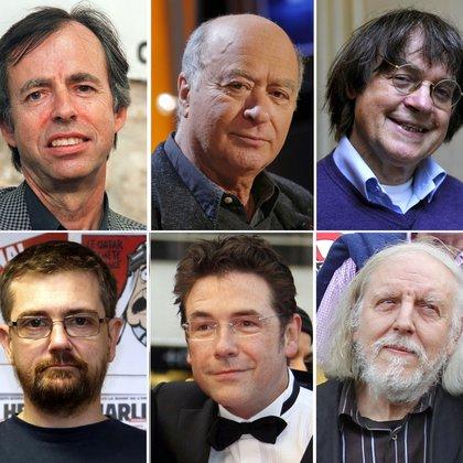 Las víctimas del ataque en la redacción de Charlie Hebdo, en París: Bernard Maris, Georges Wolinski, Jean Cabut (Cabu), Charb, Tignous y Honore (Philippe Honore) (AFP)