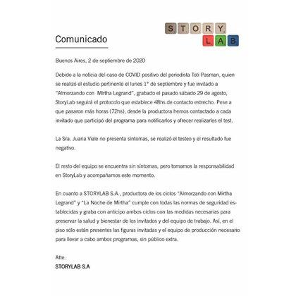 El comunicado de StroryLab S.A.