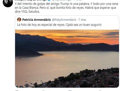 La empresaria originaria de Chiapas publicó la fotografía de un atardecer, y el reconocido periodista la confrontó por haber mantenido el silencio sobre el asedio al Capitolio de EEUU. Además, recordó que Armendáriz acudió a la cena en la Casa Blanca que celebró la primera reunión de Donald Trump y López Obrador en junio de 2020 (Foto: Twitter @lopezdoriga)