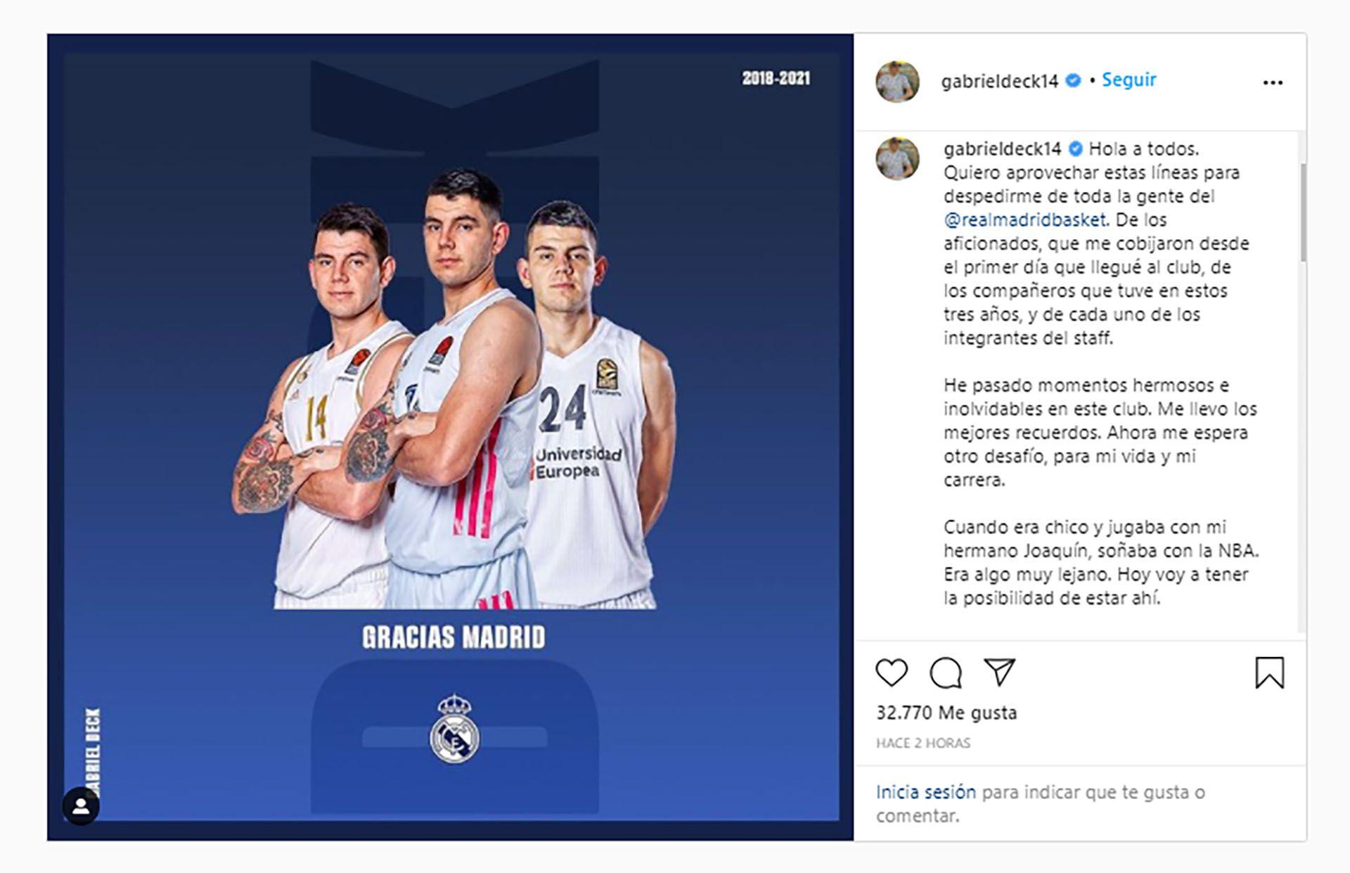 Publicación Gabriel Deck llegada a la NBA