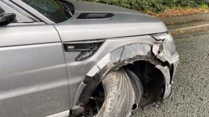 Así quedó la camioneta de Sergio Agüero tras el choque