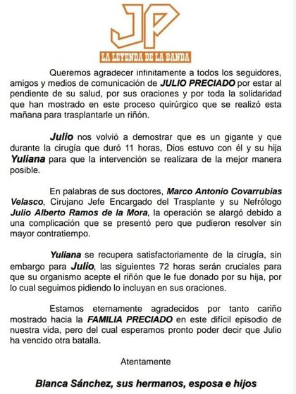 Julio Preciado y su pagina oficial explicaron lo que estaba pasando  (Foto: Infobae)