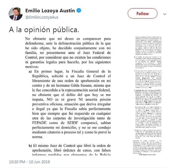 Emilio Lozoya dijo que no asistiría a comparecer ante el juez de Control (Fuente: Twitter)