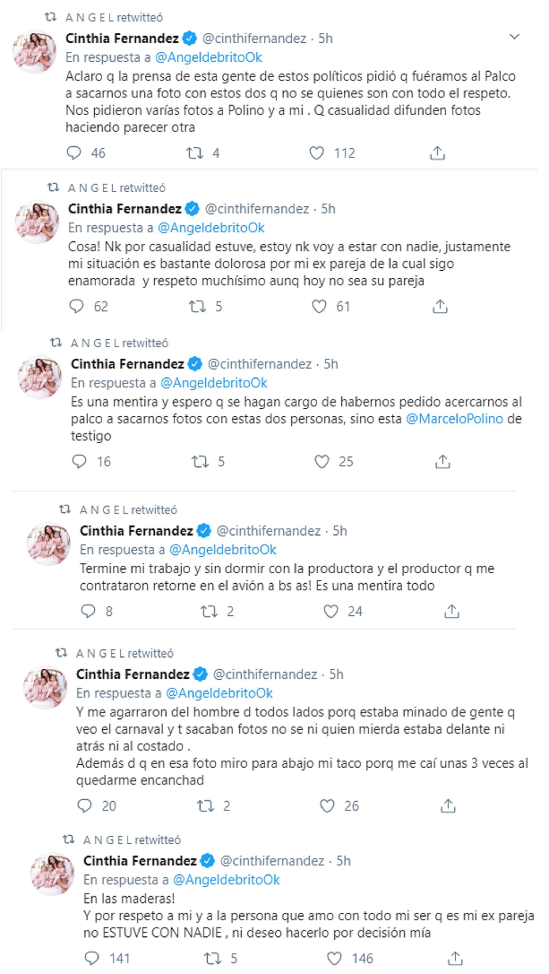 Los tuits de Cinthia Fernández