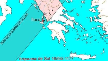 Un eclipse tuvo lugar en Itaca, Grecia según los relatos de La Odisea