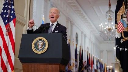 El mandatario durante su discurso del jueves. REUTERS/Tom Brenner