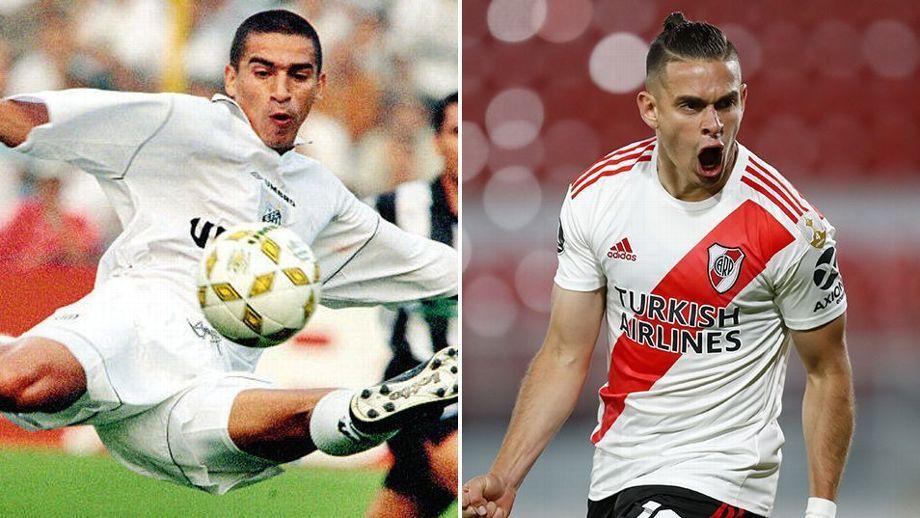 Rafael Santos Borré tras el récord de Víctor Hugo Aristizábal como el máximo goleador colombiano en el fútbol brasilero. Imagen ESPN.