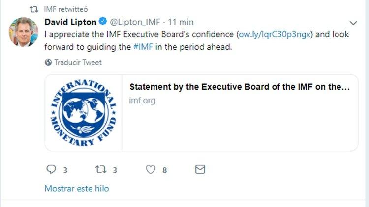 El tuit de Lipton, compartido por el FMI