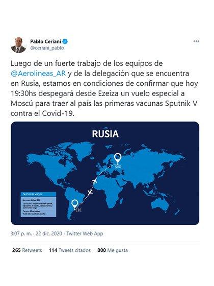 El tuit de Pablo Ceriani, titular de Aerolíneas Argentinas, anunciando en las redes sociales el viaje rumbo a Moscú para traer las vacunas rusas
