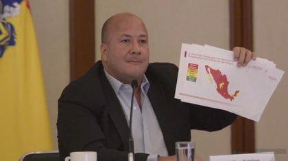 """""""Sin ninguna explicación, la Secretaría de Salud del Gobierno federal nos había pasado a color amarillo en el semáforo nacional"""", dijo Alfaro (Foto: Captura de pantalla)"""