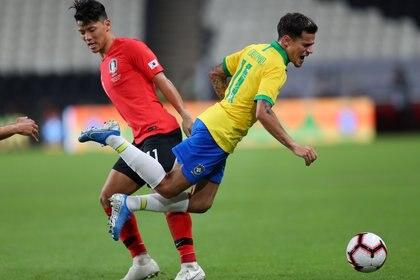 Coutinho marcó un gol de tiro libre. El último de falta directa fue de Neymar hace cinco años - REUTERS/Mahmoud Khaled