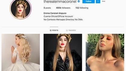 Su usuario, @therealemmacoronel, acumula casi medio millón de seguidores y sigue a 132 y tiene cinco publicaciones (Foto: Instagram/@therealemmacoronel)
