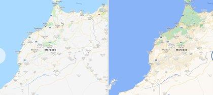 En la imagen de la derecha, la nueva veresión de Google Maps, se ve mayor definición y variedad de colores