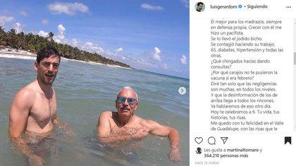 Luis Gerardo Méndez en compañía de su padre. Foto: Instagram/@luisgerardom
