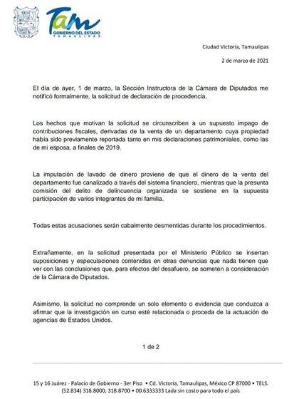 """Este martes 2 de marzo de 2021, el gobernador de Tamaulipas, Francisco Javier Cabeza de Vaca, publicó una carta en la que reiteró que todas las acusaciones en su contra """"serán cabalmente desmentidas"""" (Foto: @fgcabezadevaca)"""