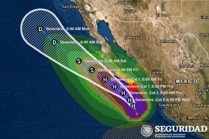 Pronóstico de trayectoria de Genevieve (Foto: sitio web www.preparados.cenapred.unam.mx)