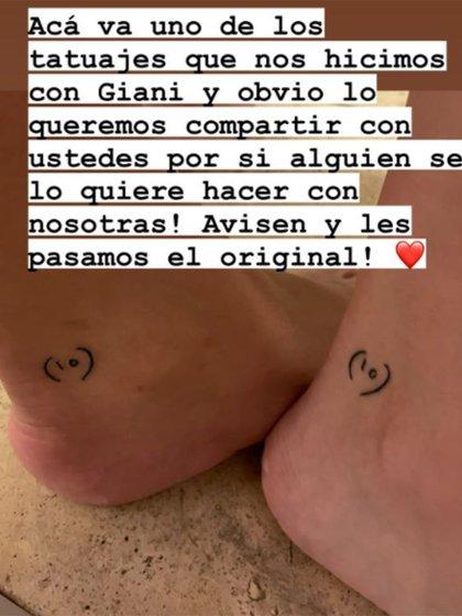 Sutil: el tatuaje de Dalma y Gianinna en honor a su padre, Diego Maradona (Instagram)