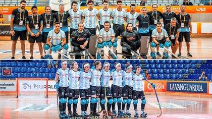 Las selecciones argentinas de hockey sobre patines se quedaron con respectivos segundos puestos en el Mundial (@FedPortPatin)
