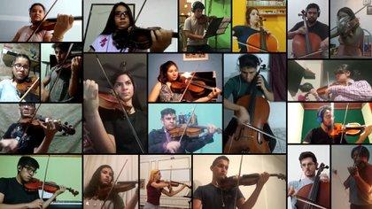 Una captura de algunos de los músicos de la orquesta en plena ejecución de la ópera