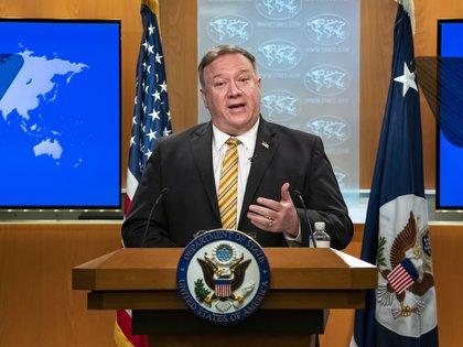 24/06/2020 El secrtario de Estado estadounidense, Mike Pompeo, durante una rueda de prensa. POLITICA INTERNACIONAL Ron Przysucha/US Department of S / DPA