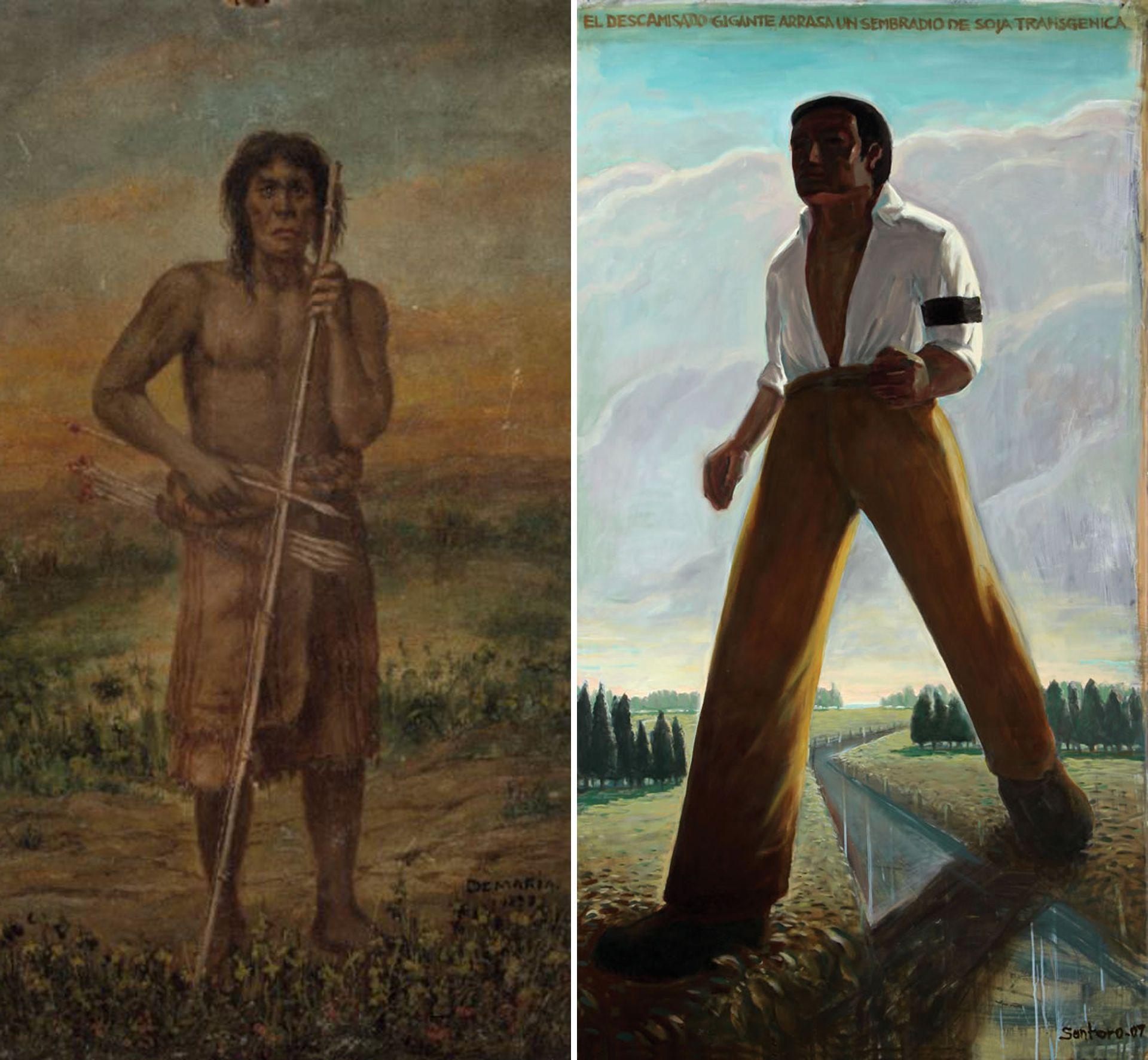 """""""Indio guerrero"""" (1898) de Bernabé Demaría / """"El descamisado gigante arrasa un campo de soja transgénica"""" (2008) de Daniel Santoro"""