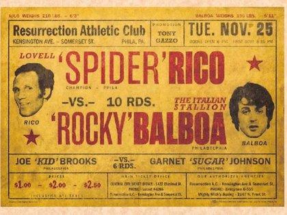 El ficticio cartel de presentación de aquel combate entre Rocky y Spider Rico