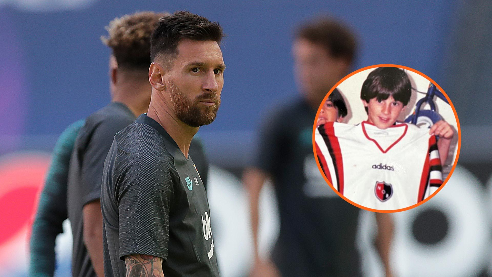inédita Messi con camiseta de Newells 1920 collage