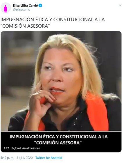 La publicación que compartió la ex diputado nacional, Elisa Carrió