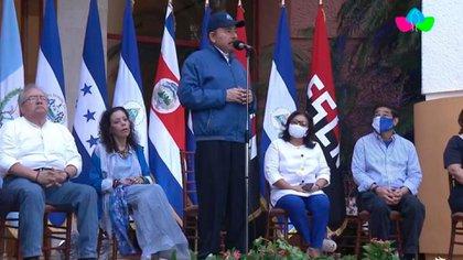 """Daniel Ortega aprovechó el acto de celebración de la independencia de Nicaragua para anunciar su iniciativa de cadena perpetua contra """"crímenes de odio""""."""