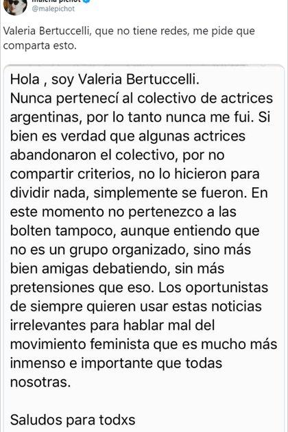 El posteo de Malena Pichot en Twitter, con el comunicado de Valeria Bertuccelli