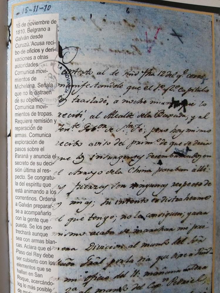 Carta facsímil de la original manuscrita de Belgrano, depositada en el archivo correntino