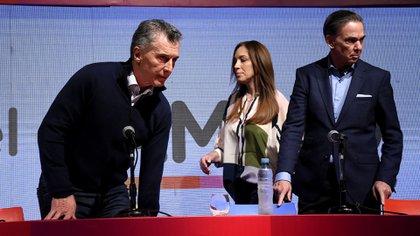 Mauricio Macri y María Eugenia Vidal tras conocerse los resultados electorales de las PASO. (Nicolas Stulberg)
