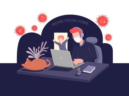 ¿De qué estamos hablando cuando hablamos de una oficina en casa?  Cualquier actividad laboral realizada fuera de las instalaciones de una empresa mediante el uso de tecnología (Shutterstock)