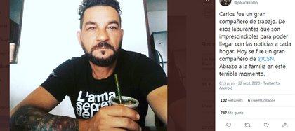 El tuit de Paulo Kablan por la muerte de Carlos Mérida