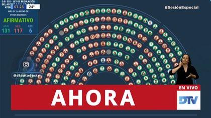 Resultado de la votación (captura de TV)