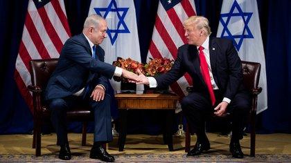 Netanyahu durante su última visita a los EEUU, en septiembre de 2017(AFP)