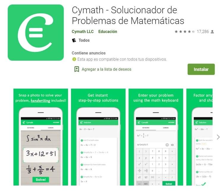 Cymath está disponible para iOS y Android.