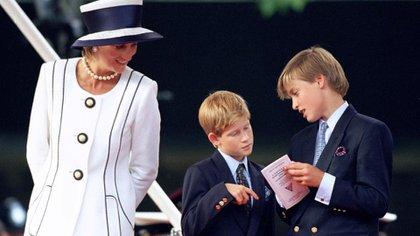 Lady Di con sus hijos Harry y William.