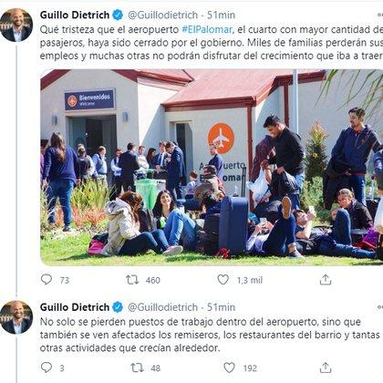 Dos de los tuits del hilo de Dietrich, que como ministro de Transporte, Macri, impulsaba el modelo low cost y el aeropuerto de El Palomar