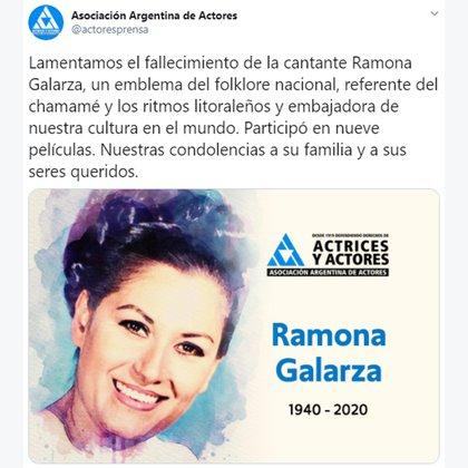 El tuit de la Asociación Argentina de Actores por la muerte de Ramona Galarza (@actoresprensa)