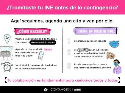 Si tramitaste tu credencial de elector antes de la contingencia por coronavirus, estos son los pasos que deberás seguir para acudir a recogerla (Foto: INE)