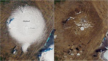 Imágenes de satélite de la NASA del glaciar Ok en septiembre de 1986 (izquierda.) y el pasado 1 de agosto. (AFP)