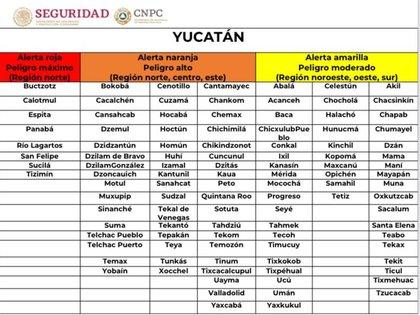 Alertas en Yucatán a las 13:00 horas del 6 de octubre, por el paso del huracán Delta, según el Sistema Nacional de Protección Civil (Foto: Twitter @CNPC_MX)