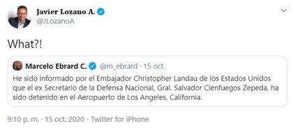 Javier Lozano ante la captura del ex General Cienfuegos. (Foto: Twitter)
