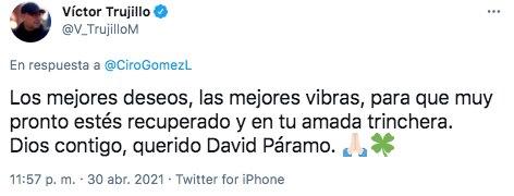 """Víctor Trujillo deseó pronta recuperación al también llamado """"padre del análisis superior"""" (Foto: Twitter@V_TrujilloM)"""