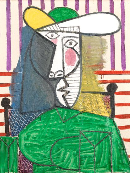 El cuadro mide 81 centímetros de alto y 65 de ancho. Fue pintado en París la última etapa de la ocupación nazi