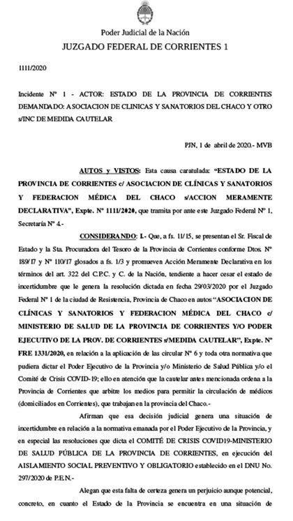 El fallo de la justicia federal ratificando la facultad de Corrientes de confinar a los médicos que crucen al Chaco