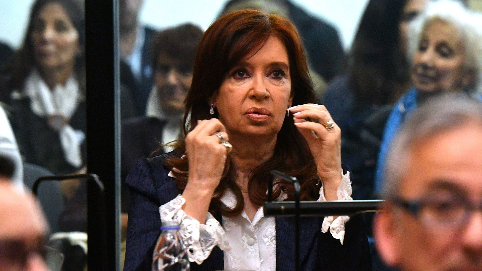 Cistina Kirchner en la primera audiencia del juicio oral  (Photo by JUAN MABROMATA / AFP)